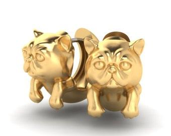 Exotic Shorthair Cat 14k gold earrings (ear huggies)