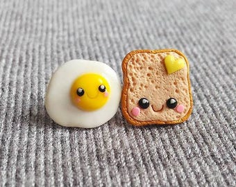 Valentines Day Gifts, Valentines Jewelry For Kids, Polymer Clay Earrings, Toast and Egg Earrings, Miniature Food Earrings, Mini Food Jewelry