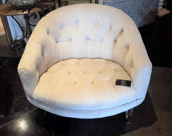 Mid Century Milo Baughman Barrel Back Tufted Club Chair Re-Upholstered Bone / Swiss Coffee Color Chrome Frame Iconic Home Furnishings