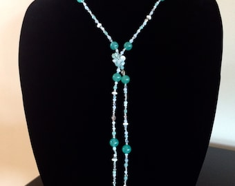 Turquoise and white knotted Y necklace