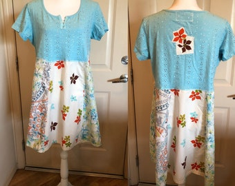 Upcycled, recycled, repurposed, tunic, dress, funky fun one of a kind, boho, eco friendly