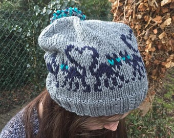 Hat with cat motifs KNITTING PATTERN in pdf | Knit these Love Cats on a Hat as a DIY gift and add a pompom to finish, toddler to adult size