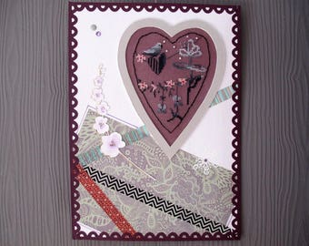 Painting with embroidered heart plum and Orchid