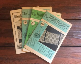 Lot of 4 The WorkBasket Needlecraft Magazines / Vintage How To Book / Craft Supply / 1950's
