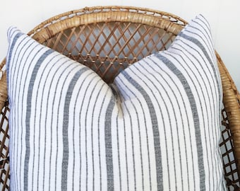 Cusco Black and White Striped Hand Loomed Textile Decorative Pillow Cover