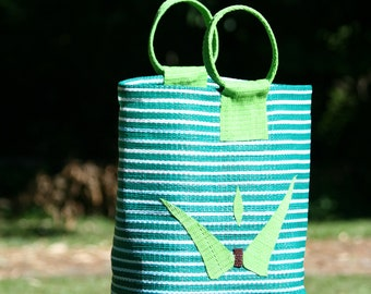 Bag, Tote, basket, woven plastic recycled handles round-shade of greens-Round woven bag
