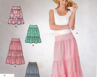 FREE US SHIP Simplicity 4549 Sewing Pattern Easy Zipper Tiered Boho Skirt Size 6 8 10 12 14 16  Waist 23-30 New Uncut Out of Print