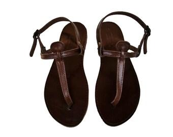 Dark Chocolate Brown T Strap Sandals, Women T Straps