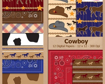 Digital Scrapbook Paper Pack - COWBOY - Instant Download