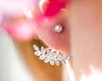 Leaf Ear Jacket Earring, Ear Jacket, Leaf ear crawler, Silver Delicate Ear Jacket, Leaf Earring, Leaf ear jacket, EarJacket Earrings