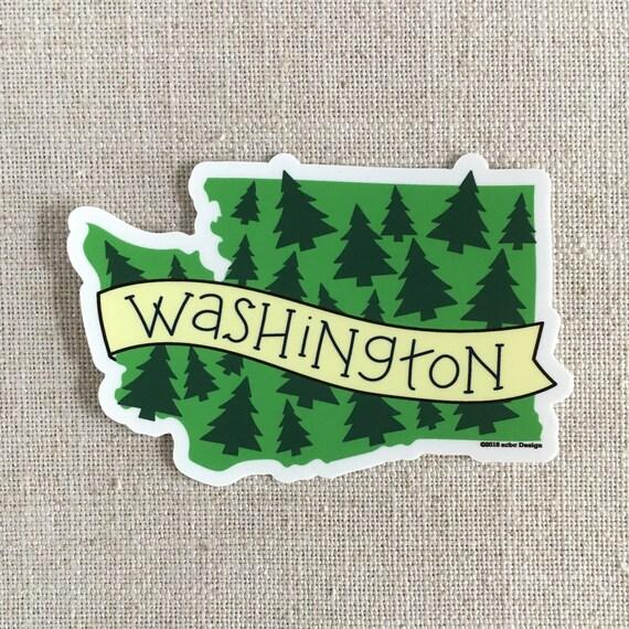 Washington state trees vinyl sticker illustrated washington