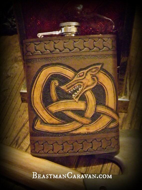 Viking Leather Flask - Celtic Dragon / Wyrm Knotwork Design -  8oz Flask