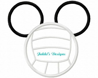 Instant Download Volleyball Mouse Ears Embroidery Machine Applique Design-519