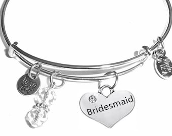 Bridesmaid Expandable Message Charm Bangle Cuff Bracelet, Comes in a Gift box.