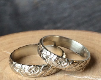 SET of 2 14kt white gold woodgrain rings 4mmTHIN PLYWOOD made to order