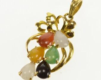 14k Pear Quartz Jade Onyx Carnelian Cluster Floral Pendant Gold