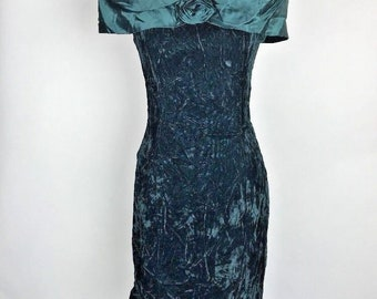 Vintage 80s 90s Crushed Velvet Green Off Shoulder Dress Prom Party 9