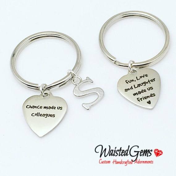 Colleagues Custom Charm Keychain, Birthday Gifts, Fathers Day Gift, Graduation Gift, Inspirational Gift zmw9.12