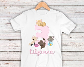 Adorable Kittens and Cats Birthday Girl Shirt or Bodysuit - Personalized with ANY Name and Age!