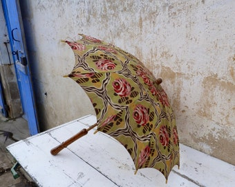 Reserved to Kristen  French 1900/1910s French Edwardian floral cotton parasol umbrella/ wood handle