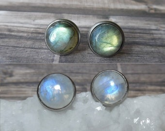 Moonstone Earrings, Labradorite Earrings, Gemstone Stud Earrings, Moonstone Jewelry, Mothers Day Gift, Crystal Earrings, Bohemian Jewelry