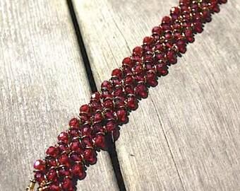 Lena - DIY tutorial, bracelet with Czech Firepolished and O-beads
