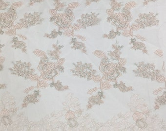 Wedding Lace Fabric Embroidered Guipure Lace Fabric With Sequins 51 inches Wide for Bridal Dress Veil Fabric Evening Dress Fabric