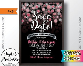 """Save the Date for a Surprise Birthday Party, Custom Color Glitter Invite, Surprise Birthday Save the Date, 4x6"""" Digital PRINTABLE File"""