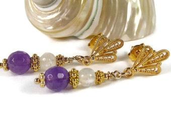 Amethyst Moonstone Earrings, Purple Stone Earrings, Birthstone Jewelry,  Gold Jewelry, Semi Precious, Special Occasion