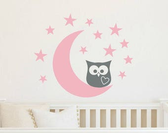 Owl Wall Decal Moon and Stars Wall Decal Wall Decal Nursery Owl Wall Vinyl Baby Wall Decal Moon Wall Decal Stars Wall Decal