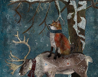 WINTER TALE 5x7 Fine Art Print, Fox Illustration, Fox Print 5x7, Small Fox Print, Whimsical Fox Art, Fox and Reindeer, Fox In The Forest