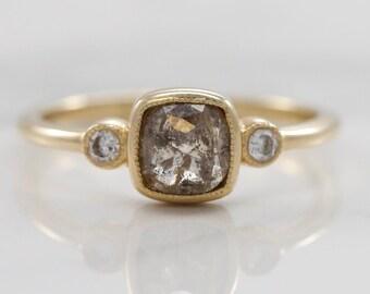 14kt Yellow Gold Rough Diamond Ring | 0.06 carat white diamonds | .91 cushion cut salt and pepper diamond | Three stone ring Engagement Ring