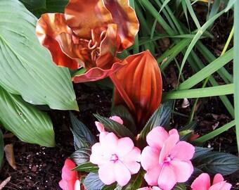 Metal Flowers Zen Garden Tulip Copper Long Stem Single Flower Copper Garden Art