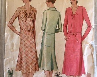 "Vintage 1929 McCall Misses' Dress Pattern 5930 Size 16 (34"" Bust)"