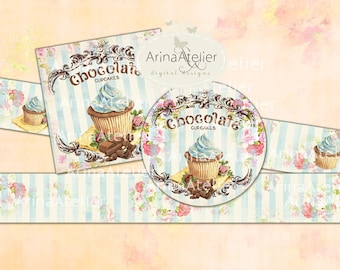 Labels Shabby Chic Chocolate Cupcakes - Set of 2 Printable Sheet - digital Labels - digital Tags - Collage Digital Cards