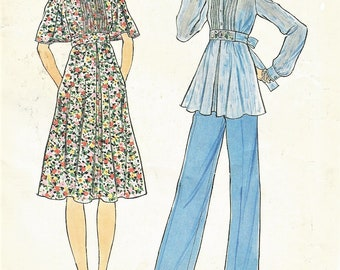 1970s Womens Hippie Dress or Tunic & Pants Flutter Sleeve and Empire Waist Simplicity Sewing Pattern 7344 Size 12 Bust 34 FF Sewing Patterns