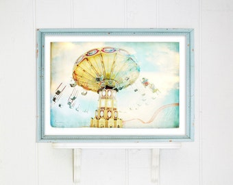Boardwalk Carousel Carnival Photography // Extra Large Art Print // Pastel watercolor look Carnival Ride at Coney Island Brooklyn // Ride