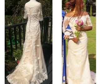 Ivory Lace Fishtail Wedding Dress