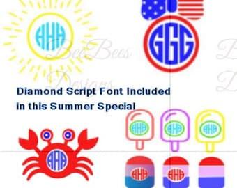 Summer Special Svg, Popsicle SVG, Sunshine SVG, Crab SVG, Monogram Font Svg