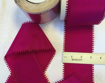 Vintage Picot Edge Rayon. Sold by the Roll of 10 Yards. Picot Edge,Picot Trim. Made in France.3 Inches Wide. Fuchsia .