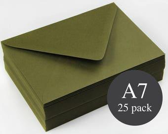 25 - A7 Forest Green Matte Euro Flap Envelopes - 5 1/4 x 7 1/4