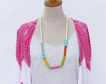 Chunky colored resin and white wooden bead necklace