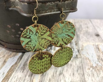 Embossed Leather Earrings-Lime Green Florals-Dangles-Boho Earrings