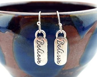 Believe earrings - Faith earrings - Faith jewelry - Christmas earrings - Christmas jewelry - Believe in Jesus Christ - Joy Holiday earrings