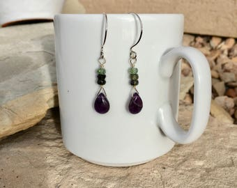 Amethyst and green tourmaline earrings