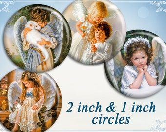 Vintage angels circles on Digital collage sheets Printable download Angels collage best for Bottle cats - LITTLE ANGEL CIRCLES