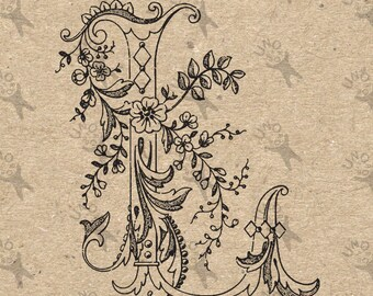 Vintage Monogram Initial Letter L Instant Download Digital printable clipart graphic Calligraphy for Burlap, Towels, kraft etc HQ 300dpi