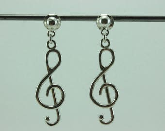 Sterling silver wire earrings dangle silver stud earrings treble clef earring musical symbol silver earrings delicate silver stud earrings
