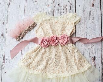 Flower Girl Dresses, Rustic Flower Girl Dress, Champagne Flower Girl Dress,Flower Girl Dress,Bohemian Flower Girl Dress,Champagne Boho Dress