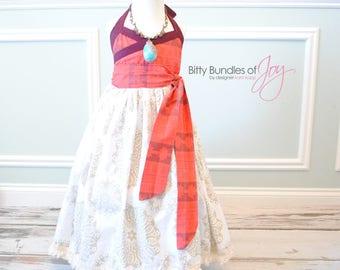 Moana Inspired Dress - Moana Costume - Polynesian Princess - Island Princess - Moana Costume